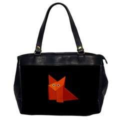 Dark Cute Origami Fox Oversize Office Handbag (One Side)