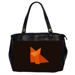 Dark Cute Origami Fox Oversize Office Handbag (Two Sides)