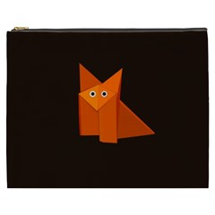 Dark Cute Origami Fox Cosmetic Bag (XXXL)