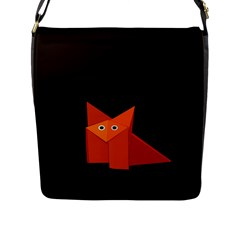 Dark Cute Origami Fox Flap Closure Messenger Bag (large)