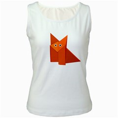 Cute Origami Fox Women s Tank Top (white)