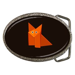 Cute Origami Fox Belt Buckle (Oval)