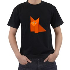 Cute Origami Fox Men s T Shirt (black)