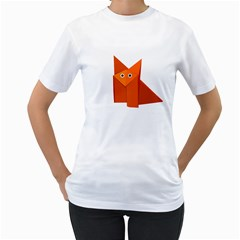 Cute Origami Fox Women s T-Shirt (White)