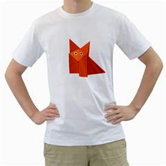 Cute Origami Fox Men s T Shirt (white)
