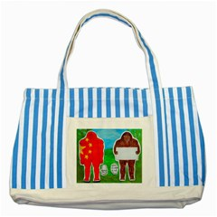 2 Yeh Ren,text & Flag In Forest  Blue Striped Tote Bag