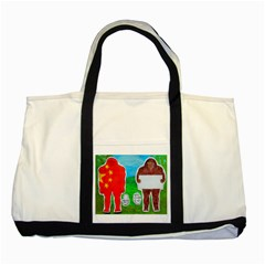 2 Yeh Ren,text & Flag In Forest  Two Toned Tote Bag