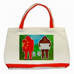 2 Yeh Ren,text & Flag In Forest  Classic Tote Bag (Red)