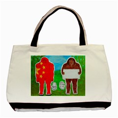 2 Yeh Ren,text & Flag In Forest  Twin-sided Black Tote Bag