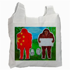 2 Yeh Ren,text & Flag In Forest  White Reusable Bag (Two Sides)