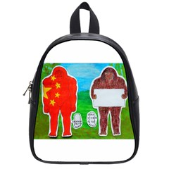 2 Yeh Ren,text & Flag In Forest  School Bag (small)