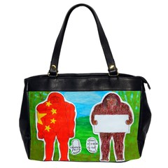 2 Yeh Ren,text & Flag In Forest  Oversize Office Handbag (Two Sides)