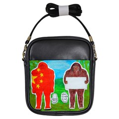 2 Yeh Ren,text & Flag In Forest  Girl s Sling Bag
