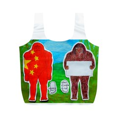 2 Yeh Ren,text & Flag In Forest  Reusable Bag (M)