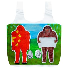 2 Yeh Ren,text & Flag In Forest  Reusable Bag (xl)