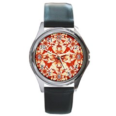 Digital Decorative Ornament Artwork Round Leather Watch (Silver Rim)