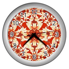 Digital Decorative Ornament Artwork Wall Clock (Silver)