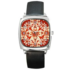 Digital Decorative Ornament Artwork Square Leather Watch