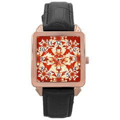 Digital Decorative Ornament Artwork Rose Gold Leather Watch