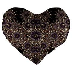 Luxury Ornament Refined Artwork 19  Premium Heart Shape Cushion