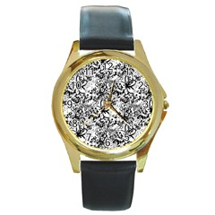 Flower Lace Round Leather Watch (Gold Rim)