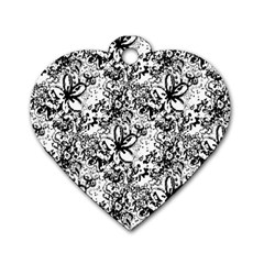 Flower Lace Dog Tag Heart (One Sided)