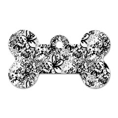 Flower Lace Dog Tag Bone (Two Sided)