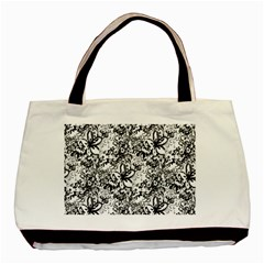 Flower Lace Twin-sided Black Tote Bag