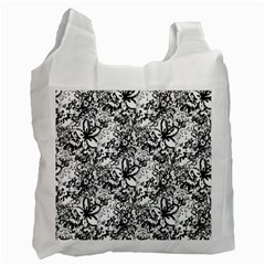 Flower Lace White Reusable Bag (One Side)
