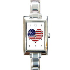 Grunge Heart Shape G8 Flags Rectangular Italian Charm Watch