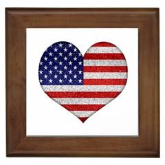 Grunge Heart Shape G8 Flags Framed Ceramic Tile