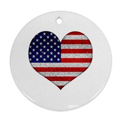 Grunge Heart Shape G8 Flags Round Ornament