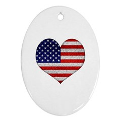 Grunge Heart Shape G8 Flags Oval Ornament
