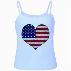 Grunge Heart Shape G8 Flags Baby Blue Spaghetti Tank