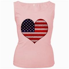 Grunge Heart Shape G8 Flags Women s Tank Top (pink)