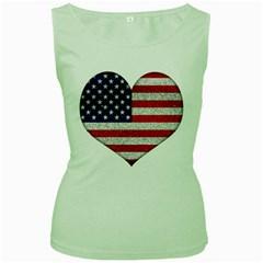 Grunge Heart Shape G8 Flags Women s Tank Top (green)