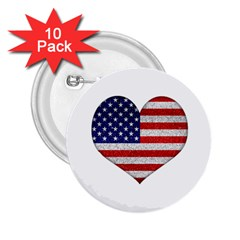 Grunge Heart Shape G8 Flags 2 25  Button (10 Pack)