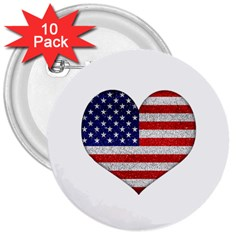 Grunge Heart Shape G8 Flags 3  Button (10 pack)