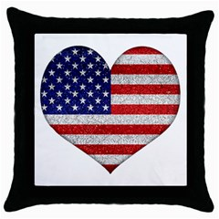 Grunge Heart Shape G8 Flags Black Throw Pillow Case