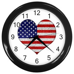 Grunge Heart Shape G8 Flags Wall Clock (Black)