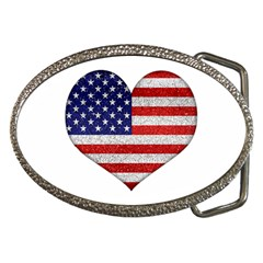 Grunge Heart Shape G8 Flags Belt Buckle (oval)