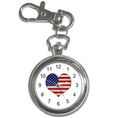 Grunge Heart Shape G8 Flags Key Chain Watch