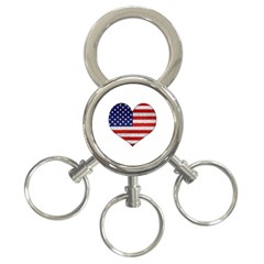 Grunge Heart Shape G8 Flags 3-Ring Key Chain