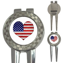Grunge Heart Shape G8 Flags Golf Pitchfork & Ball Marker