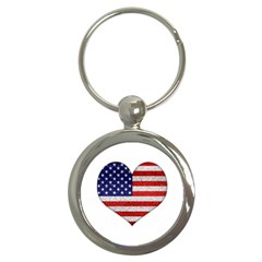 Grunge Heart Shape G8 Flags Key Chain (Round)
