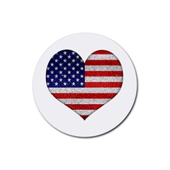Grunge Heart Shape G8 Flags Drink Coasters 4 Pack (Round)