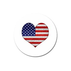 Grunge Heart Shape G8 Flags Magnet 3  (Round)