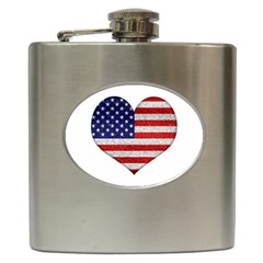 Grunge Heart Shape G8 Flags Hip Flask