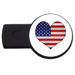 Grunge Heart Shape G8 Flags 1GB USB Flash Drive (Round)