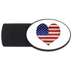Grunge Heart Shape G8 Flags 1GB USB Flash Drive (Oval)